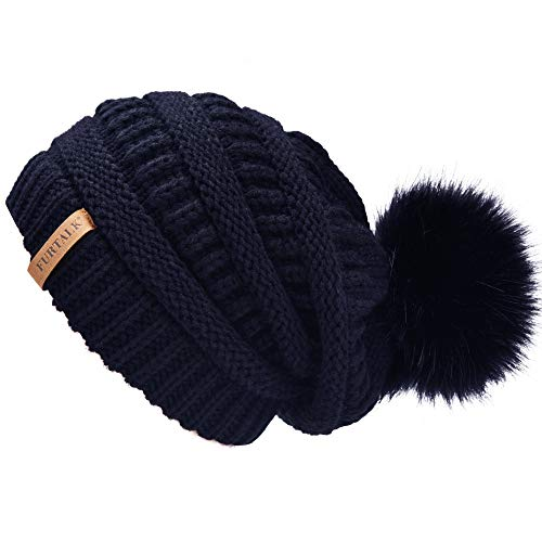 Navy Blue Slouch Hat - Winter Real Fur Pom Beanie Hat Warm Oversized Chunky Cable Knit Slouch Beanie Hats for Women