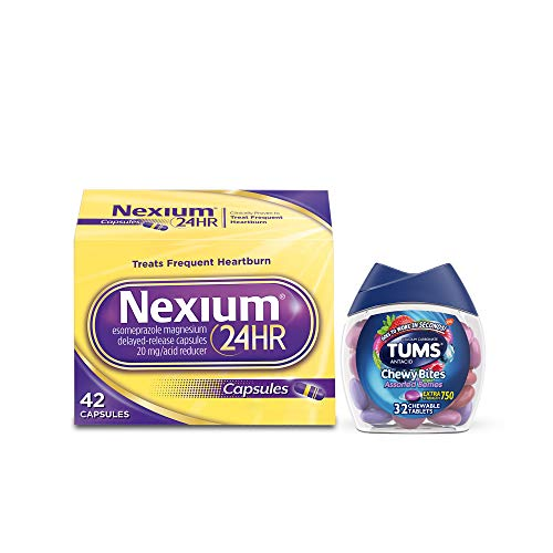 Nexium 24HR Capsules Heartburn Medication Esomeprazole Magnesium 42 ct, Tums Chewy Bites Assorted Berries Chewable…
