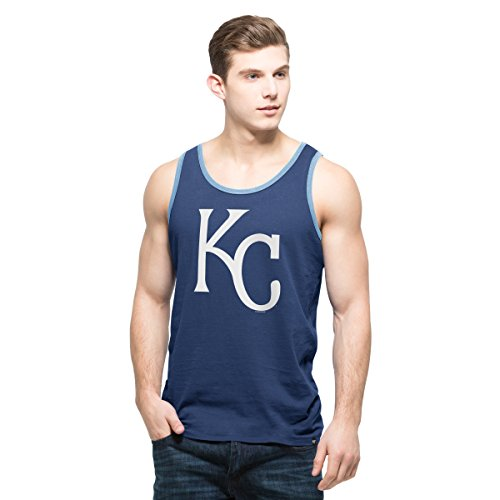 ('47 MLB Kansas City Royals Men's Crosstown Tank Top, X-Large, Bleacher Blue)