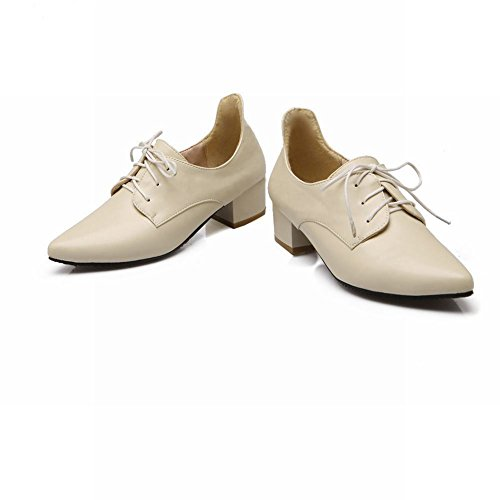 Carolbar Womens Simple Lace up Pointed Toe Retro Fashion Mid Heel Oxfords Shoes Beige DnjnSbL