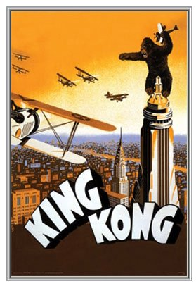 King Kong Framed Poster - Quality Silver Metal Frame - 24 x