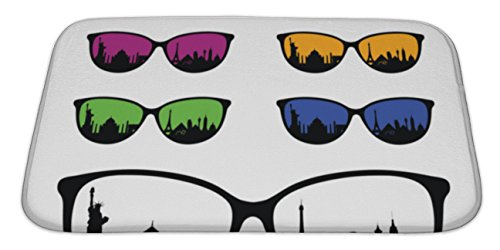 Gear New Memory Foam Bath Rug, Ancient Famous Monument On Sunglasses Illustration, 34x21, - With People Famous Sunglasses