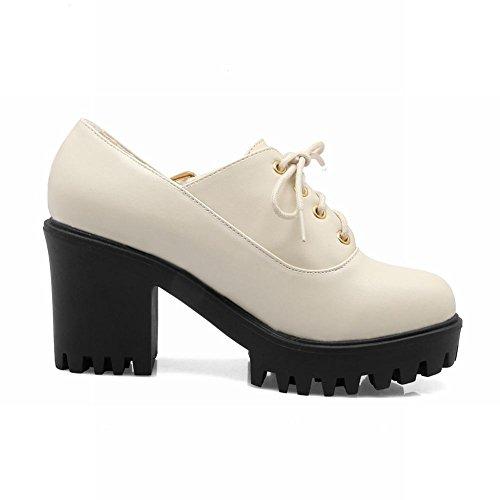 Carolbar Womens Mode Lacets Boucle Plate-forme Haut Talon Oxfords Chaussures Beige