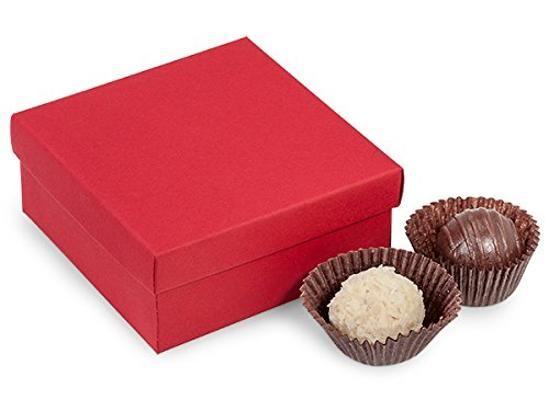 4 Pc Truffle Boxes Red (24 Pack) ()