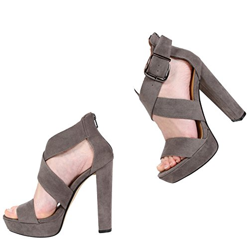 NEW WOMENS LADIES PEEP TOE PLATFORM HIGH HEEL STRAPPY SANDAL SHOES SIZE 3-8 Grey Suede