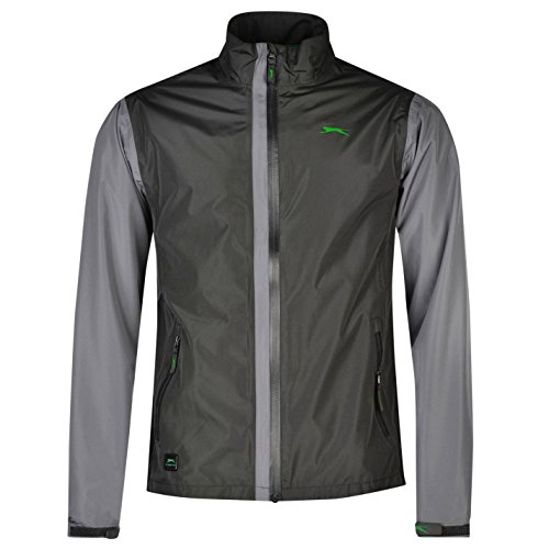 Slazenger Mens Waterproof Golf Jacket Lightweight Chin Guard Full Zip Top Charcoal Small by Slazenger