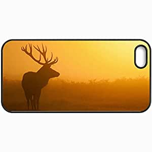 Personalized Protective Hardshell Back Hardcover For iPhone 5/5S, Deer Silhouette Design 14633 Design In Black Case Color