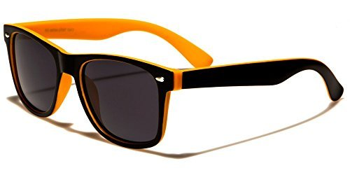 Retro Rewind Classic Polarized Wayfarer Sunglasses Black Orange w Soft Finish