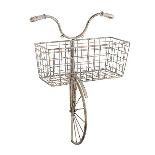 - ART & ARTIFACT Iron Bicycle Wall Decor - Basket for Storage Magazine Rack Flower Pot Holder