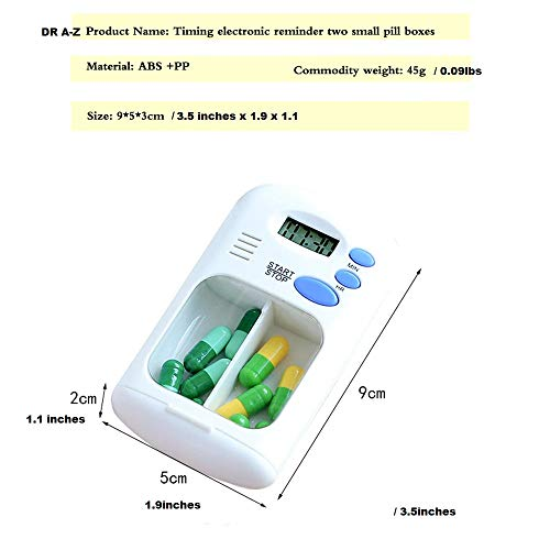 - Portable Mini Pill Box Timer with LCD Digital Electric Alarm Medicine Pill Case 2 Grids White Color Two Drawers Divided Plus Memory Fits Large Pills