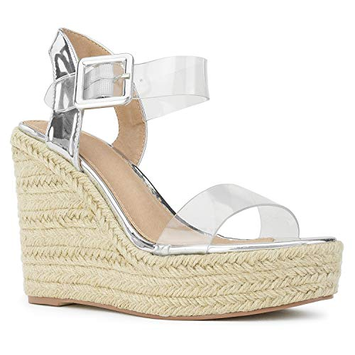 - RF ROOM OF FASHION Open Toe Clear PVC Espadrille Platform Wedge Sandals Silver Size.9