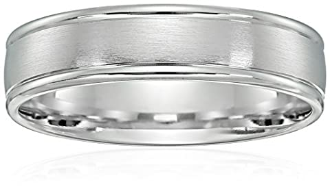 10k White Gold 6mm Comfort-Fit Wedding Band with Satin Center and High Polish Round Edges, Size 10 (6 Mm White Gold Band)