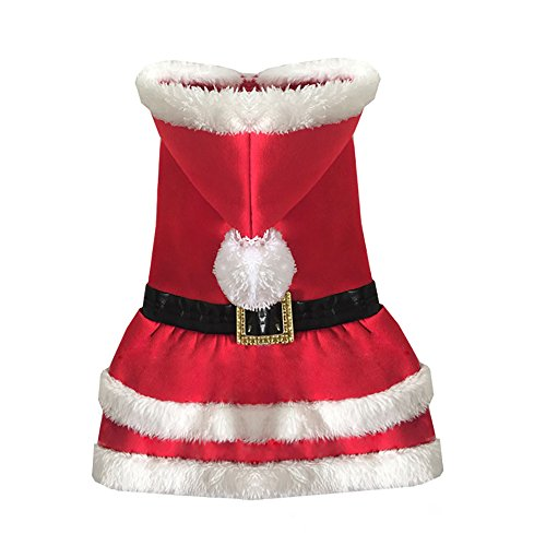 Systond Dog Party Dress Pet Costume Cat Holiday Clothes Apparel Puppy Coat Doggy Dress UP Jumpsuit with Cute Hood for Small Medium Dogs Costume03