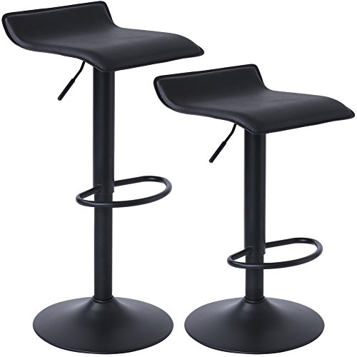 SUPERJARE Adjustable Bar Stools, Swivel Barstool Chairs for Bar, Shop, Kitchen, Set of 2, Black (Bar Stool Adjustable Chair)
