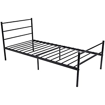 metal bed frame twin size greenforest two headboards 6 legs mattress foundation black platform bed frame box spring replacement for boys kids adult bedroom