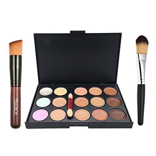 Ucanbe 15 Color Concealer Palette Cream Contour Kit With Pro Foundation Concealer Face Contouring Powder Makeup (Glow In The Dark Makeup Kit)