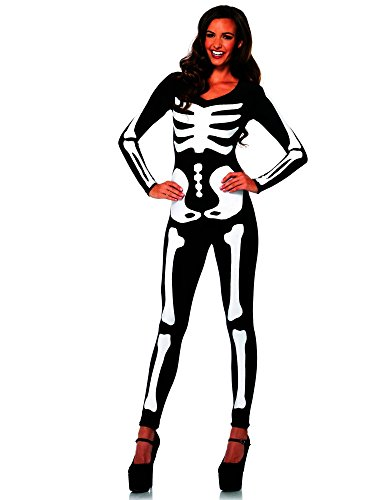 Spandex Halloween Costumes (Leg Avenue Women's Spandex Printed Glow-In-The-Dark Skeleton Catsuit, Black/White, Medium)