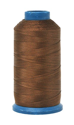 Mandala Crafts Bonded Nylon Thread for Sewing Leather, Upholstery, Jeans and Weaving Hair; Heavy-Duty; 1500 Yards Size 69 T70 (Russet Brown)