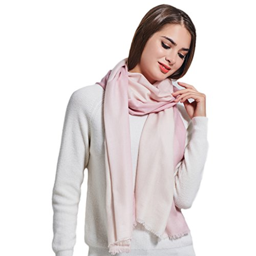 (WENKOM 100% Pure Wool Scarf for Women Fashion Shawl Elegant Wrap Thin Style Series Packed with Gift Box New Launch Pink Color Available)