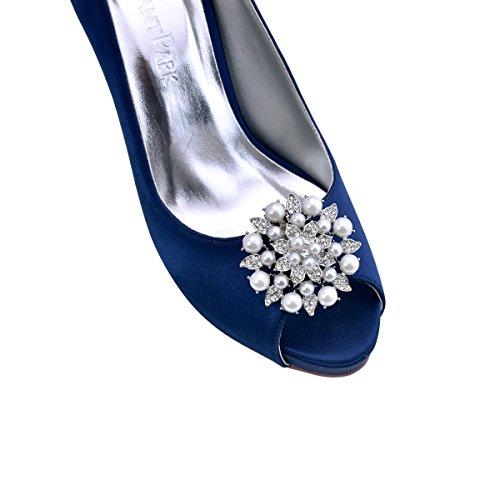 Fashion Rhinstones Pearl Pcs Mujer 2 zapato Plateado Clips BK Clips ElegantPark Accesorios TwqgSx5
