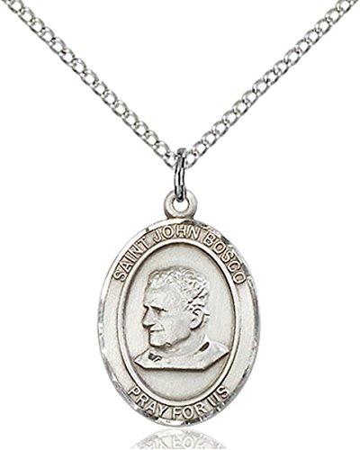 Sterling Silver Saint John Bosco Medal Pendant, 3/4 Inch John Bosco Pendant
