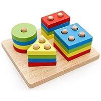 العاب تعليمية للاطفال، 4 مجموعات من الاشكال الهندسية، ركائز واحجار بناء