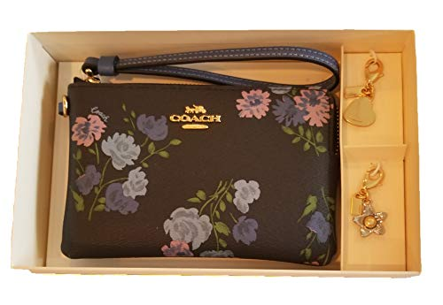 Coach Boxed Corner Zip Wristlet with Painted Peony Print & 2 Detachable Charms F73346 (Navy Multi/Gold)