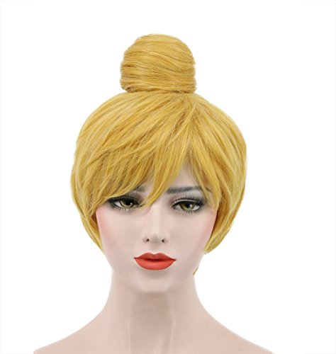 Karlery Women's Short Wave Bud Ball Head Gold Wigs Anime Party Cosplay Halloween Wig]()