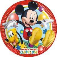 16 piatti, 16 bicchieri, 20 tovaglioli,1 Tovaglia, 1 Ghirlanda Buon Compleanno TOPOLINO MICKEY MOUSE ADDOBBI FESTA kit n/°26 Cdc