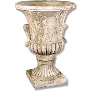 """OrlandiStatuary FS10201 Acanthus Leaf Urn Sculpture, 30"""", Cathedral White Finish"""