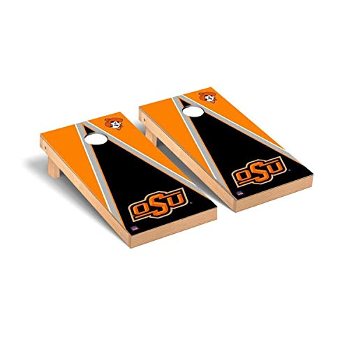 Victory Tailgate Regulation Collegiate NCAA Triangle Series Cornhole Board Set - 2 Boards, 8 Bags - Oklahoma State Cowboys
