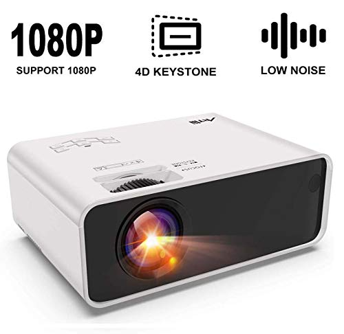 Mini Projector - Artlii Enjoy Portable Projector with ±45° Digital 4D Keystone Correction, Lower Noise, HIFI Stereo,1080P Support Movie Projector Compatible HDMI Chromecast TV Smartphone Video Games