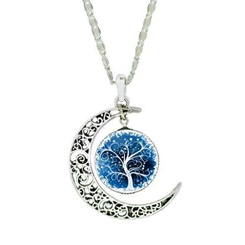 - Women's Silver Charm Chain Tree of Life Necklace Pendant Gifts for Her Mum Girls
