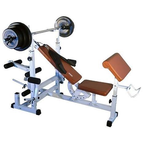 TrainHard - Banco de pesas Fuerza Station Fitness Center marrón/blanco con 1,6 m, Barra larga y 37,5 kg Pesas: Amazon.es: Deportes y aire libre