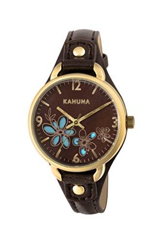 Kahuna–Reloj de cuarzo para mujer con esfera marrón pantalla analógica y correa de PU marrón KLS-0308L
