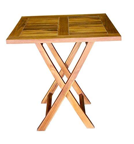 ALA TEAK Wood Patio Outside Garden Yard Folding Table Waterproof (Indonesian Teak Garden Furniture)