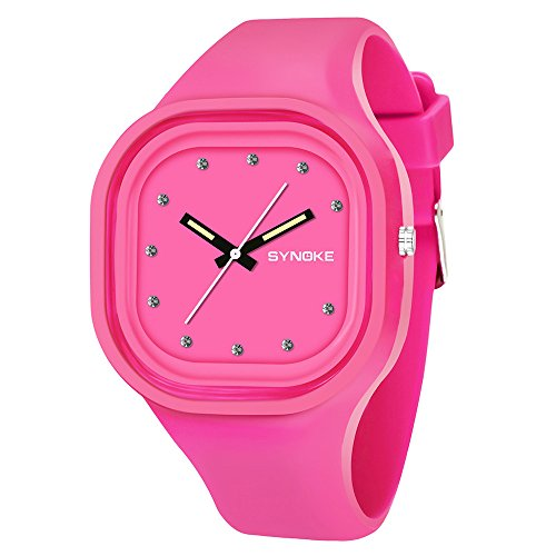 Fxbar, Brand Waterproof Sport Analog Dive Watch Diamond Bracelet Watches Student Digital Sports Watch(Pink)