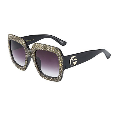 ROYAL GIRL Square Sunglasses For Women Oversized Inspired Designer Crystal Shades (Black-Gray, - Glasses Square For Face A