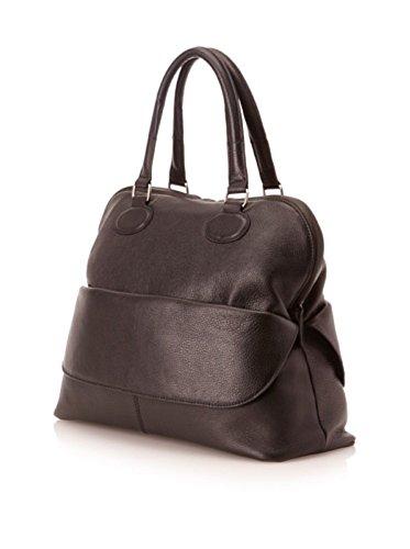 Charles Jourdan Hope Luxurious Pebble Black Leather Dome Exterior Pocket Satchel Handbag