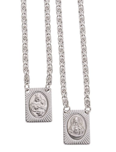 Scapular Medal Pendant - Catholica Shop Stainless Steel Catholic Wear Religious Scapular Medal Necklace | Images of Our Lady of Mount Carmel and Sacred Heart of Jesus - 14 Inch
