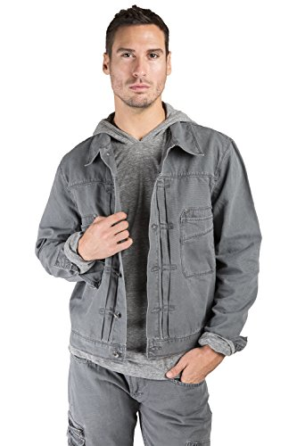 Level 7 Men's Charcoal Grey Heavy Wash Canvas Trucker Jacket 100% Cotton Rugged and Stylish Size XL Heavy Canvas Jacket
