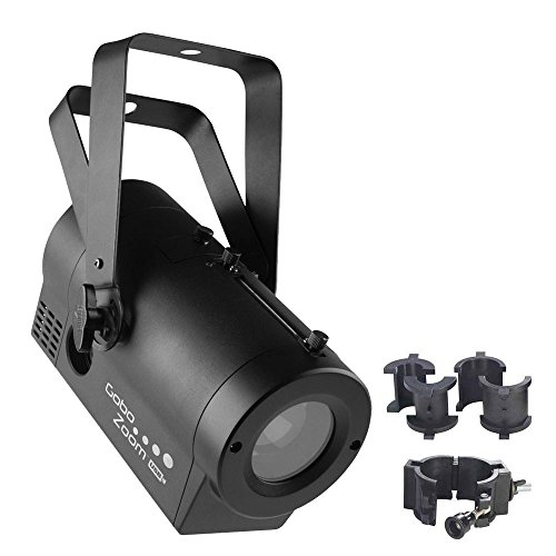 Chauvet DJ Gobo Zoom USB LED Gobo Projector Lighting Effects Fixture with CLP-10 Light-Duty Adjustable O Clamp by Chauvet