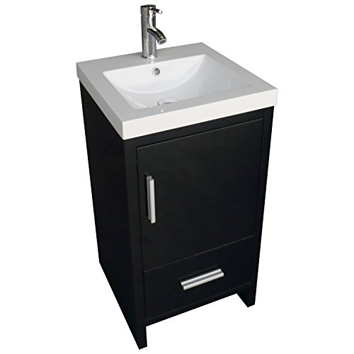 New Modern Black Bathroom Vanity Wood Cabinet W/ Top Basin V