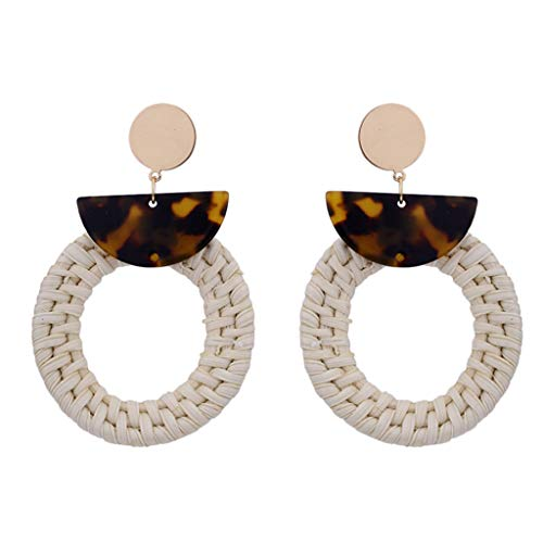- Bohemian Circle Earrings Style Rattan Acetate Board Geometric Earrings Ladies Jewelry