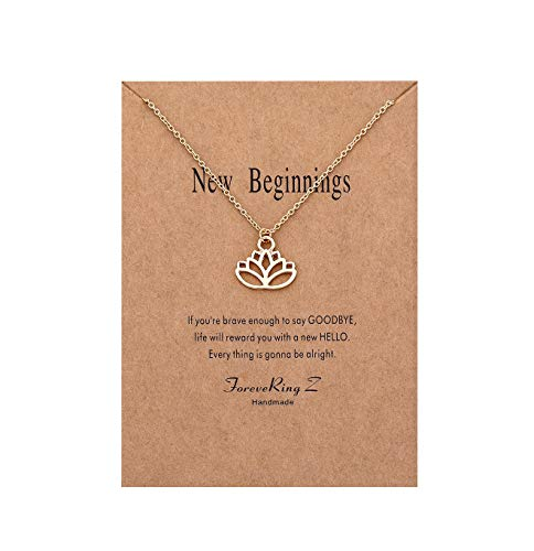 ForeveRing Z Message Card New Beginnings Choker Necklace Lucky Lotus Pendant Necklace Woman Jewelry ()