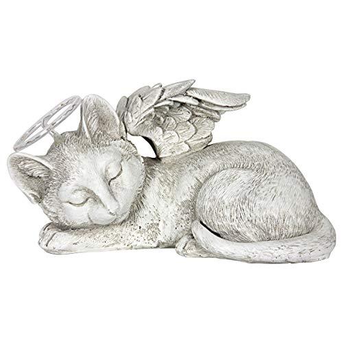 Exhart Sleeping Cat with Angel Wings and Solar Halo - Sleeping Cat Garden Décor, Kitten Memorial Statue, Angel Cat Memorial Marker, 8.7