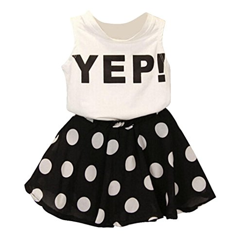 FEITONG Girls Letter Vest Dot Skirt Two Pieces Set Clothes Children Skirt Suit (Age:3-4Y) ()