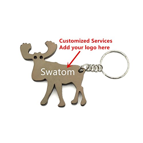 Swatom Moose Shaped Bottle Opener Keychain Customized Bottle Openers Key Chain Ring Personalized Gifts Accessories (100, LOGO)