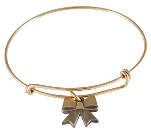 Emoji Single Charm Bracelet (Bow - Antique - Pin Bow Charm Gold