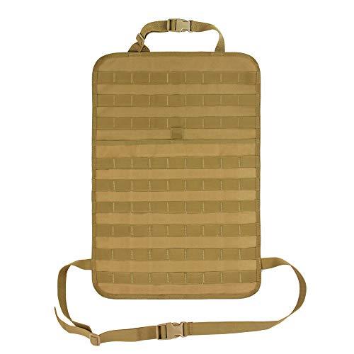 Wynex Car Seat Back Organizer Pocket Storage, Tactical MOLLE Panel Vehicle Seat Cover Protector Kit Mat Kick Mats Waterproof Universal Automotive (Tan)